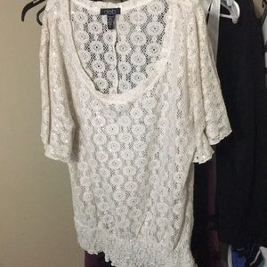 Dolmain lace scoop neck top with clear sequins